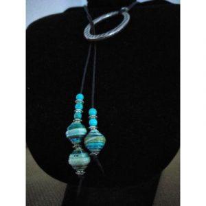 Boho Style Paperbeads Necklace - Blue -ecomauritius.mu