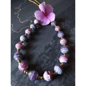 Purple Boho Style Paperbeads Necklace-purple-ecomauritius.mu