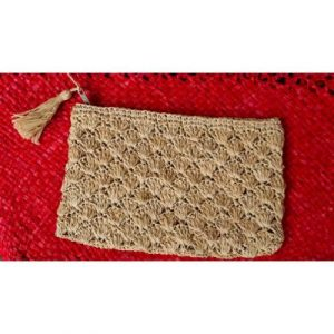 LINED NATURAL POUCH WITH POMPOM ON ECOMAURITIUS.MU