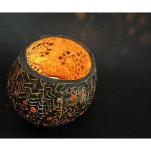 bamboo design on coconut candle holder on ecomauritius.mu